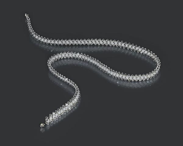 Jeweled Necklace With White Swarovski Crystals