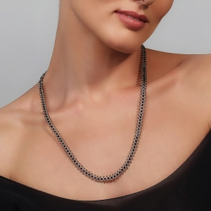 Jeweled Necklace With Grey & Black Swarovski Crystals Silver-plated stainless steel