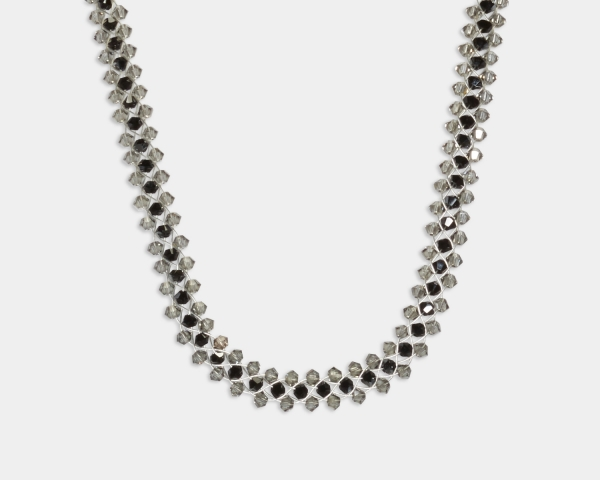 Jeweled Necklace With Grey & Black Swarovski Crystals Jewelry,Necklaces