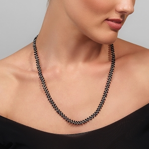 Jeweled Necklace With Black Swarovski Crystals Silver-plated stainless steel