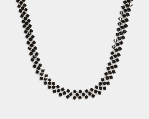 Jeweled Necklace With Black Swarovski Crystals Jewelry,Necklaces