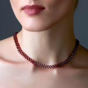 Jeweled Choker Necklace With Ruby Swarovski Crystals Silver-plated stainless steel
