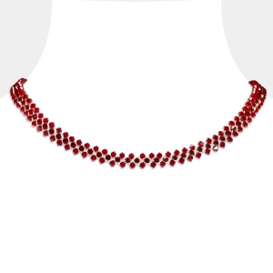 Jeweled Choker Necklace With Ruby Swarovski Crystals Swarovski crystals
