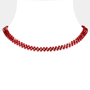 Jeweled Choker With Red Swarovski Crystals Swarovski crystals