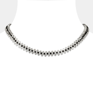Jeweled Choker Necklace With Grey & Black Swarovski Crystals Swarovski crystals