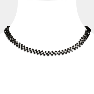 Jeweled Silver Choker With Black Swarovski Crystals Swarovski crystals