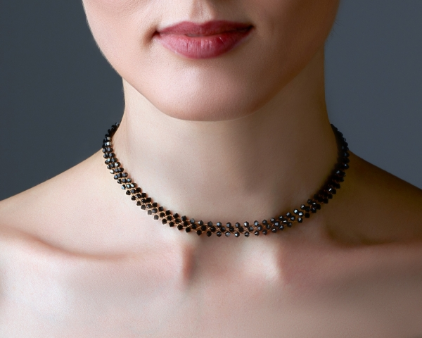 Jeweled Gold Choker With Jet Swarovski Crystals Gold-plated stainless steel
