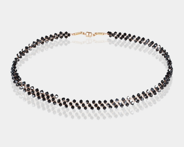 Jeweled Gold Choker With Jet Swarovski Crystals
