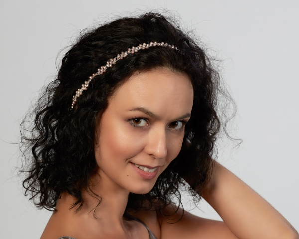 Bridal Headband With Pink Pearls Silver-plated stainless steel