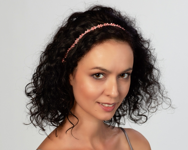 Bridal Headband With Coral Beads Silver-plated stainless steel