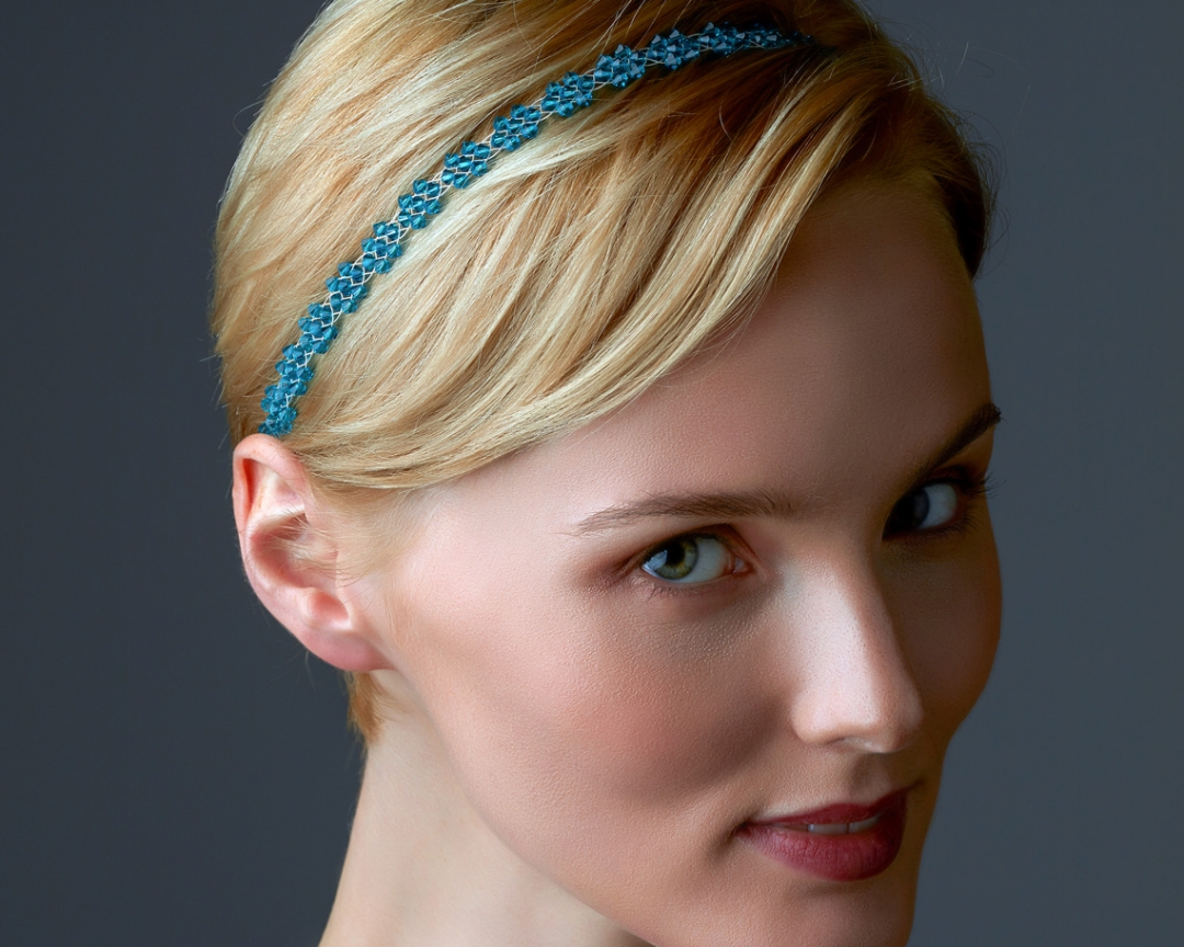 Bridal Headband With Swarovski Crystals Silver-plated stainless steel