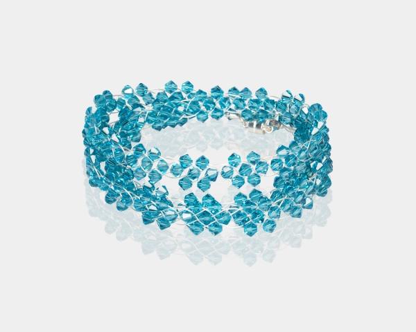 Bridal Headband With Swarovski Crystals Silver Aquamarine Blue