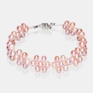 Bridal  Bracelet With Pink Pearls Silver-plated stainless steel