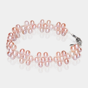 Bridal  Bracelet With Pink Pearls