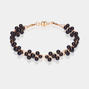 Gold Bracelet With Black Agate Gold-plated stainless steel