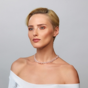 Choker Necklace With Pink Pearls Silver-plated stainless steel