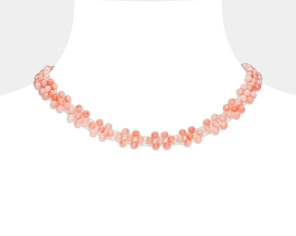 Choker Necklace With Coral Beads Coral