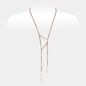 Copper Long Necklace With Keshi Pearls Freshwater pearls
