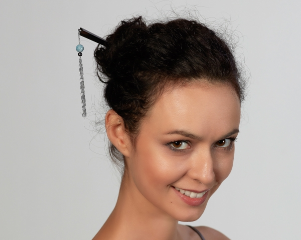 Sterling Silver and Ebony Hair Pin With Aquamarine and Black Pearl Sterling silver