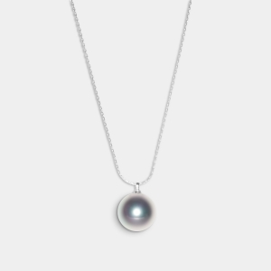 Sterling Silver Necklace With Grey Southsea Shell Pearl Jewelry,Necklaces