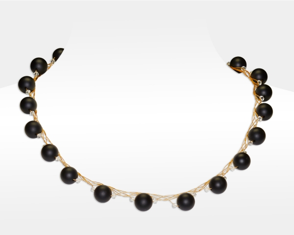 Gold Necklace With Black Onyx and Swarovski Crystals Onix