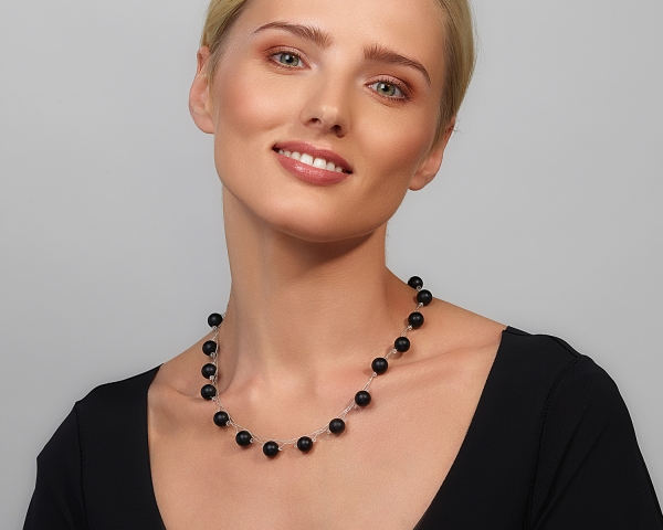 Sterling Silver Necklace With Black Onyx and Swarovski Crystals Silver-plated stainless steel