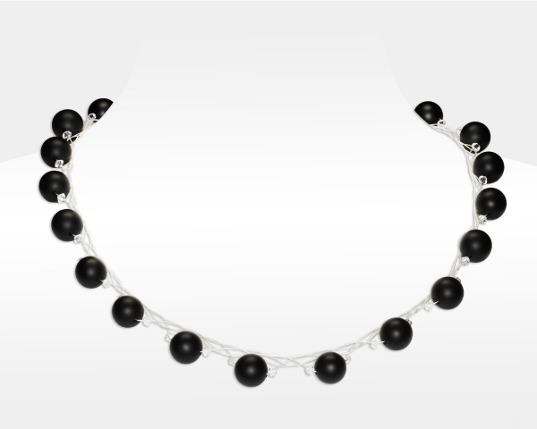 Sterling Silver Necklace With Black Onyx and Swarovski Crystals Onix