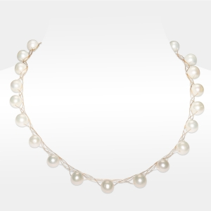Gold and Silver Necklace With White Pearls Gold-plated stainless steel