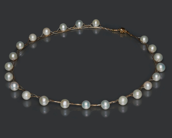 Gold and Silver Necklace With White Pearls Freshwater pearls