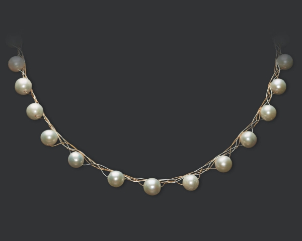 Gold and Silver Necklace With White Pearls Jewelry,Necklaces