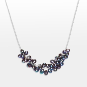 Silver Necklace With Black Pearl Clusters Jewelry,Necklaces