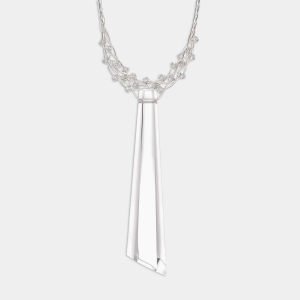 Sterling Silver Long Necklace With Asfour Icicle  Swarovski Crystals Jewelry,Necklaces