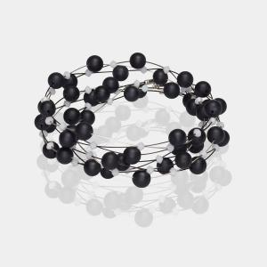 Jeweled Headband With Black Onyx and White Swarovski Crystals Silver Black White