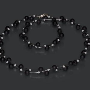 Jeweled Headband With Black Onyx and White Swarovski Crystals Onix