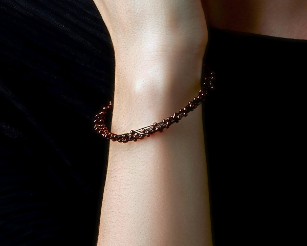 Bronze Jeweled Bracelet Glass beads