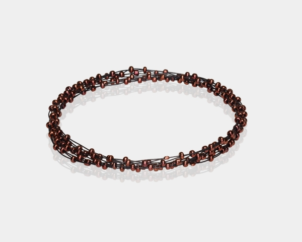 Bronze Jeweled Bracelet Black stainless steel