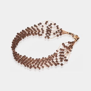 Bronze & Gold Jeweled Bracelet Gold-plated stainless steel