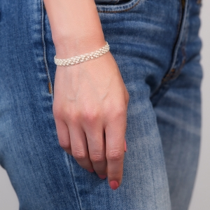 Silver  Jeweled Bracelet With Wite Pearl Freshwater pearls