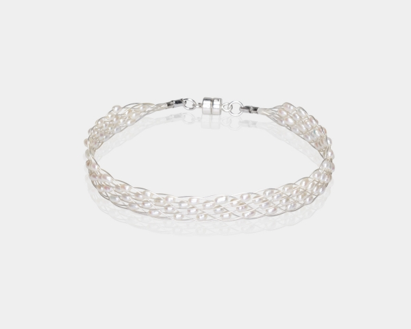 Silver  Jeweled Bracelet With Wite Pearl Silver-plated stainless steel