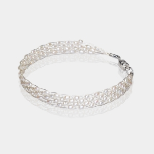 Silver  Jeweled Bracelet With Wite Pearl