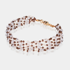 Bronze & Gold  Jeweled Bracelet Swarovski crystals