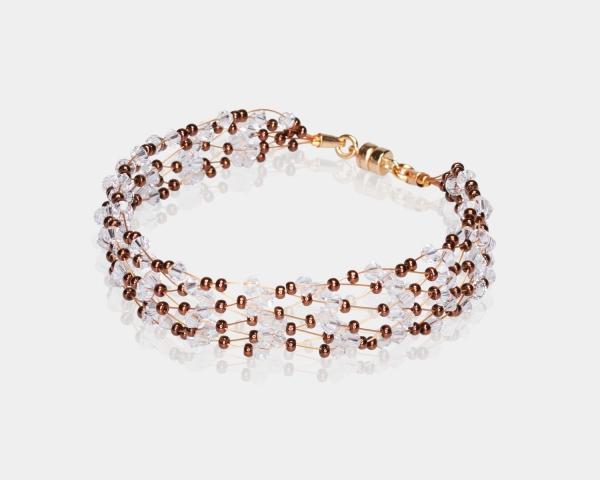 Bronze & Gold  Jeweled Bracelet Swarovski crystals