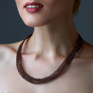 Bronze Jeweled Necklace Black stainless steel