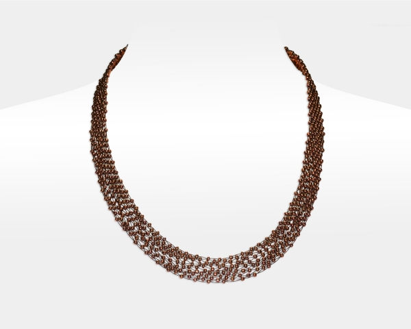 Bronze Jeweled Necklace Glass beads
