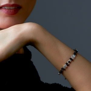 Woven Bracelet With Swarovski Crystals and Hematite Beads Swarovski crystals
