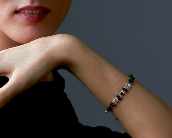 Woven Bracelet With Swarovski Crystals and Hematite Beads Swarovski crystals