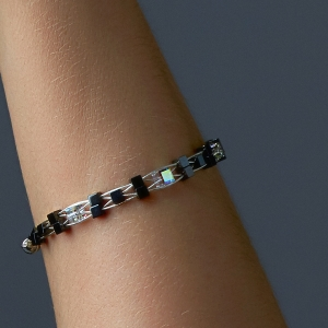 Woven Bracelet With Swarovski Crystals and Hematite Beads Silver Black