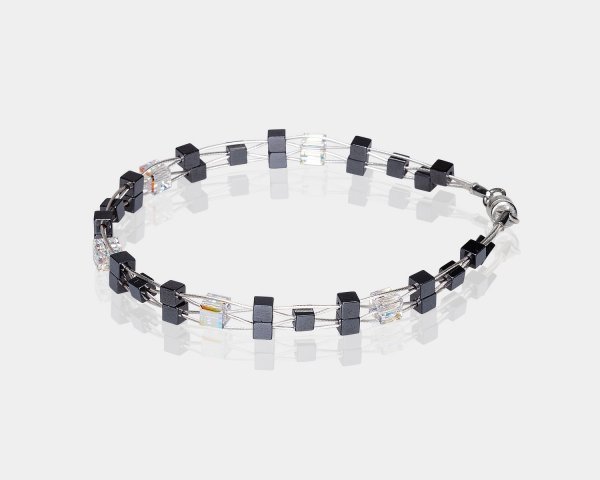 Woven Bracelet With Swarovski Crystals and Hematite Beads Hematite