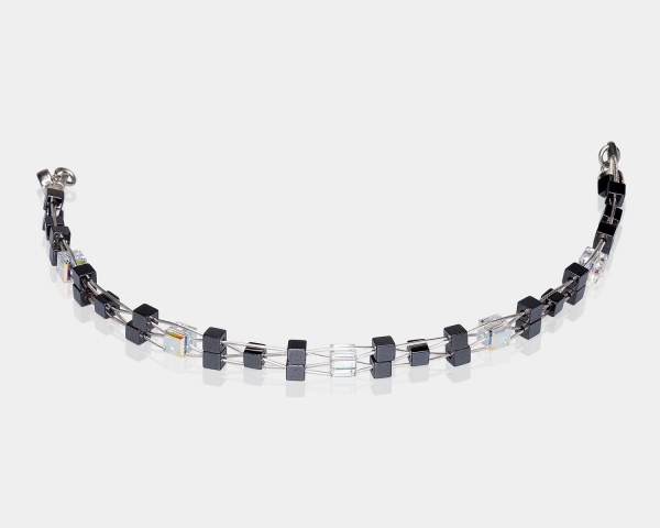 Woven Bracelet With Swarovski Crystals and Hematite Beads
