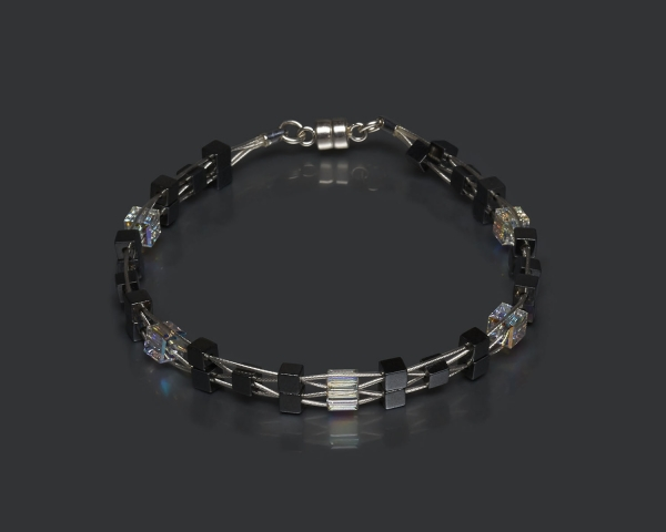 Woven Bracelet With Swarovski Crystals and Hematite Beads Magnetic clasp
